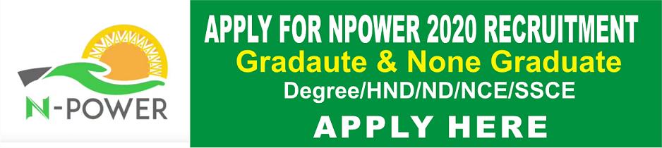 Npower Recruitment 2020 application online for, Banner, logo and website